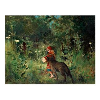 Capa con capucha roja con el lobo tarjetas postales