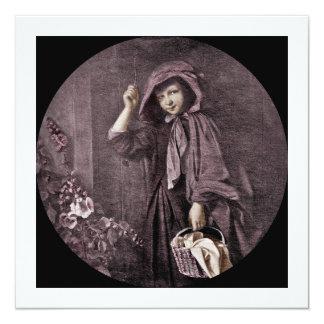 """Capa con capucha roja en la puerta de las abuelas invitación 5.25"""" x 5.25"""""""