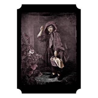 """Capa con capucha roja en la puerta de las abuelas invitación 5"""" x 7"""""""