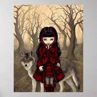 Capa con capucha roja en lobo gótico de la IMPRESI Póster