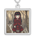 Capa con capucha roja en lobo gótico del COLLAR de