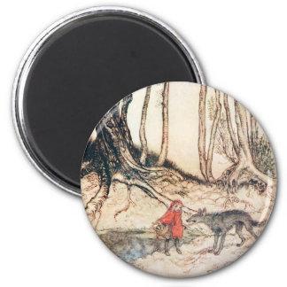 Capa con capucha roja imán redondo 5 cm