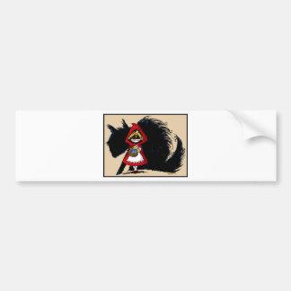 Capa con capucha roja malvada etiqueta de parachoque
