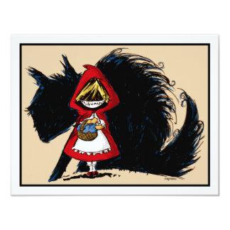 """Capa con capucha roja malvada invitación 4.25"""" x 5.5"""""""