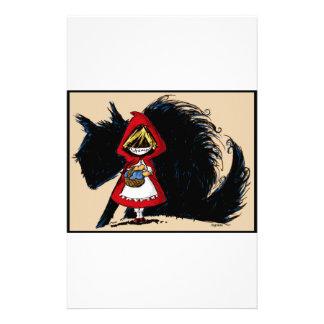 Capa con capucha roja malvada papelería de diseño