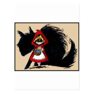 Capa con capucha roja malvada tarjeta postal