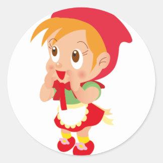 Capa con capucha roja etiqueta redonda