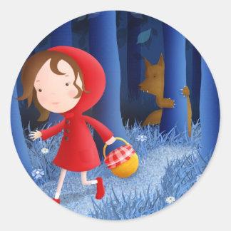 Capa con capucha roja - pegatinas pegatina redonda