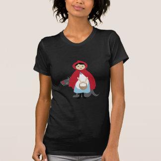Capa con capucha roja camiseta