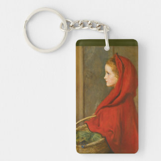 Capa con capucha roja por Millais Llavero Rectangular Acrílico A Una Cara