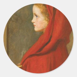 Capa con capucha roja por Millais Pegatina Redonda