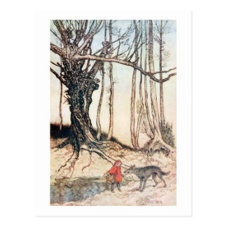 Capa con capucha roja tarjeta postal
