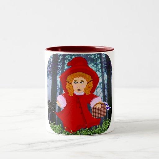 Capa con capucha roja taza de café