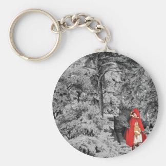 Capa con capucha roja y el lobo (BW) Llavero Redondo Tipo Pin