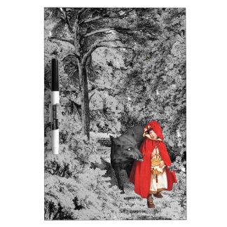 Capa con capucha roja y el lobo (BW) Pizarra