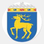 Capa de Åland del HACHA del brazo Pegatina Redonda