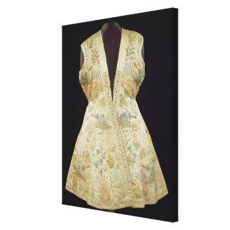 Capa de la caza del satén bordada con las sedas ad impresiones en lona estiradas