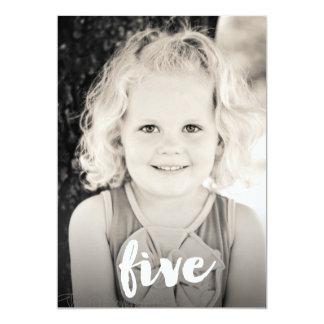 """Capa de la foto del número cinco del cumpleaños de invitación 5"""" x 7"""""""