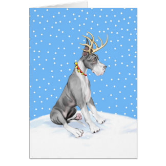Capa del navidad del reno de great dane tarjeta
