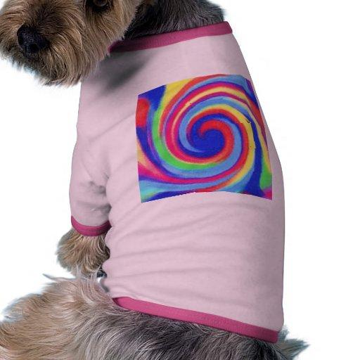 capa del perro del remolino del arco iris camisetas mascota