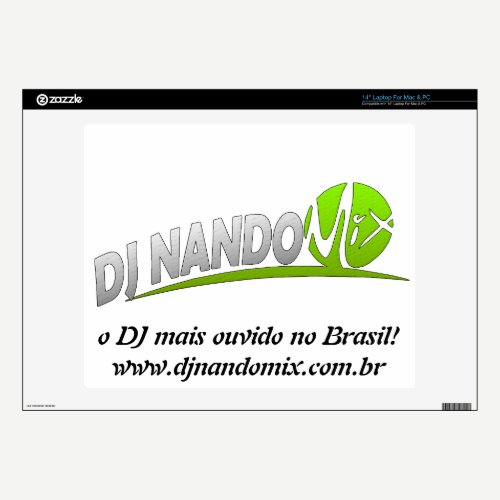 "Capa Notebook Dj Nando Mix 14"" Laptop Skin"