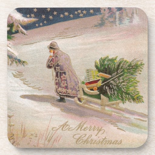 Capa púrpura Santa que tira de navidad del vintage Posavasos