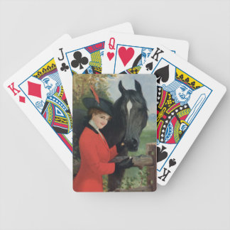 Capa roja ecuestre del montar a caballo de la imag baraja de cartas bicycle