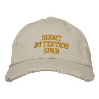 Capacidad de concentración corta gorra de béisbol bordada