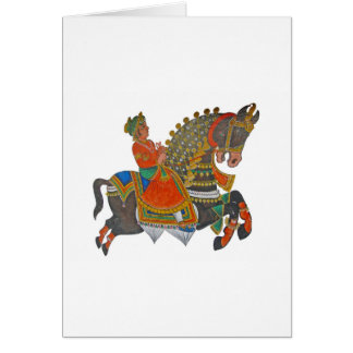 Caparisoned horse on parade. card