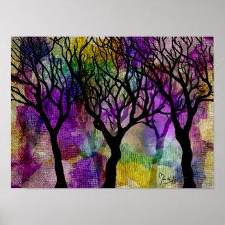 Capas de árboles en fondo de la mica impresiones