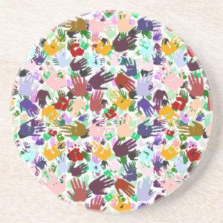 Capas de Handprints colorido Posavasos Personalizados