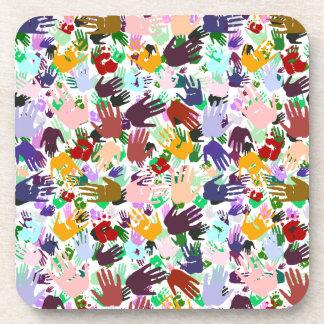 Capas de Handprints colorido Posavasos De Bebida