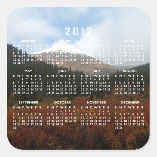 Capas enormes; Calendario 2012 Calcomanías Cuadradas Personalizadas