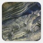 Capas expuestas en el barranco polar pegatina cuadrada