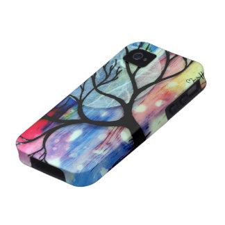 Capas transparentes del árbol y de la tinta iPhone 4 carcasas