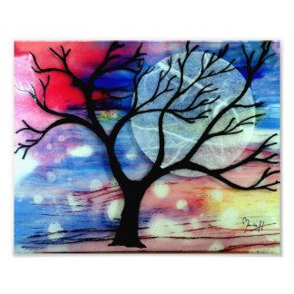 Capas transparentes del árbol y de la tinta arte con fotos