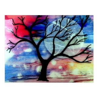 Capas transparentes del árbol y de la tinta postal