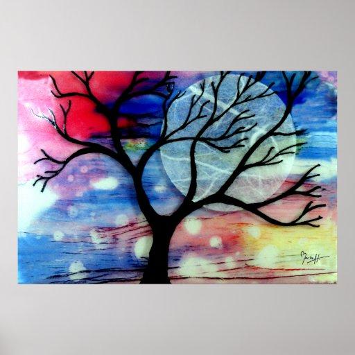 Capas transparentes del árbol y de la tinta póster