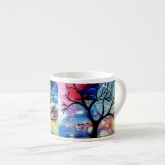 Capas transparentes del árbol y de la tinta taza espresso