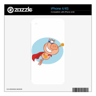 Cape and mask wearing pig flying decals for iPhone 4