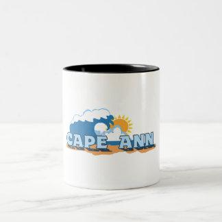 Cape Ann - Waves Design. Two-Tone Coffee Mug