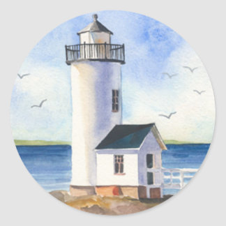 Cape Anne Lighthouse Classic Round Sticker