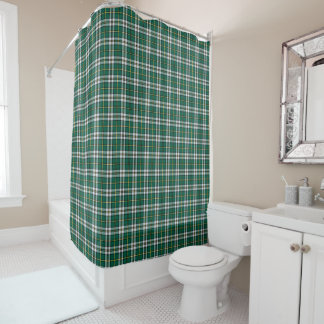 Cape Breton Bright Green and White Plaid Pattern Shower Curtain