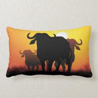 Cape Buffalo and Kuba cloth Pillow
