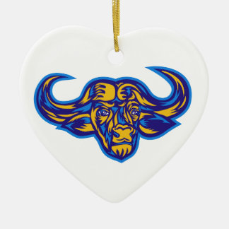 Cape Buffalo Head Retro Ceramic Ornament