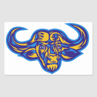 Cape Buffalo Head Retro Rectangular Sticker