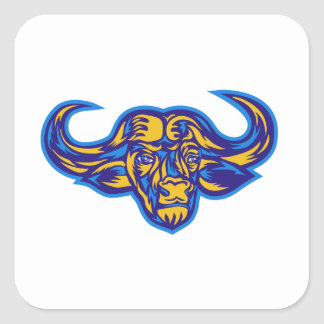 Cape Buffalo Head Retro Square Sticker