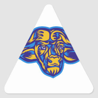 Cape Buffalo Head Retro Triangle Sticker
