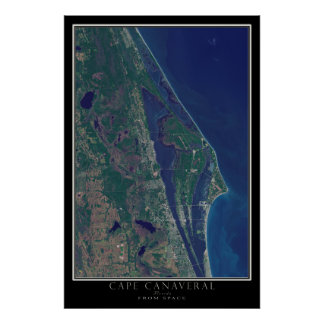 Cape Canaveral Florida From Space Satellite Map Poster