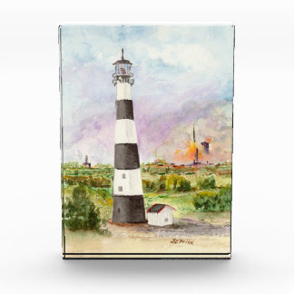 Cape Canaveral Lighthouse Rocket Launch Watercolor Acrylic Award